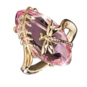 Jewelry - 18k gold plated fashion faux pink Emerald ring